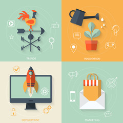 Flat vector of new business and launch innovation product