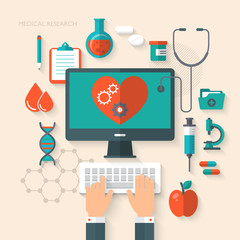 Flat design modern concept for medical research