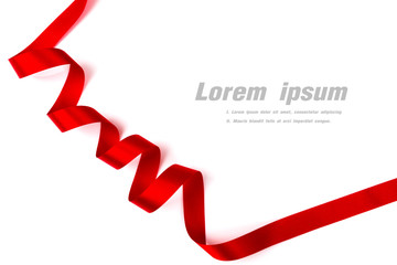 Red ribbon isolated on white background  with copy space.