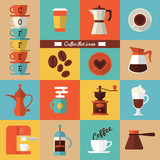 Fototapety Flat modern icons for coffee shop. Vector illustration