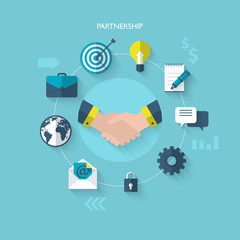 Flat design modern illustration for partnership and team work