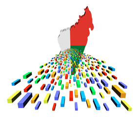 Madagascar map flag with containers illustration