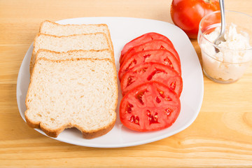 Sliced Bread and Tomatoes for Sandwiches