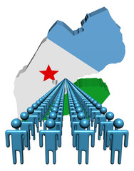 Lines of people with Djibouti map flag illustration