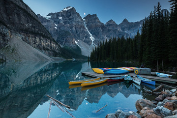 Moraine Lake in Moonlight with a couple