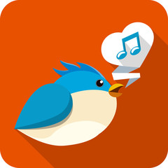 Vector  Blue Bird Sing