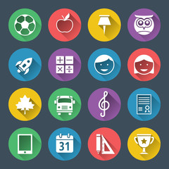 School and education flat design icons set