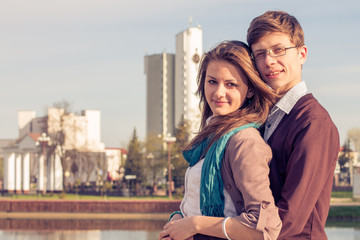 Young fashion elegant stylish Hipster couple