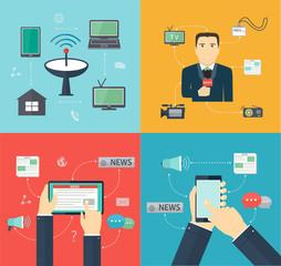 Broadcasting News via mobile devices, Journalism, Flat set Mass