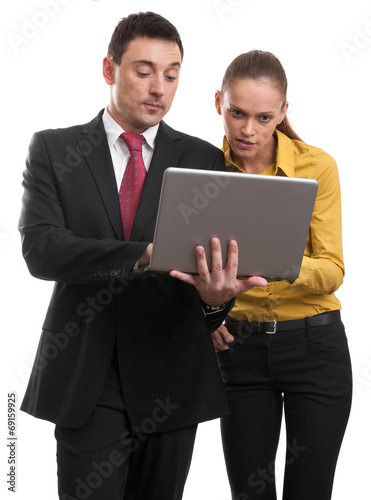 canvas print picture Business meeting with laptop