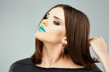 Beautiful woman face. Beauty portrait. Beautiful blue lips.