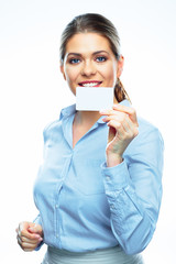 Business woman isolated white background, credit card.