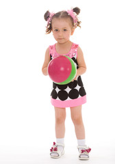 girl with colored ball