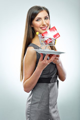 Conceptual business woman portrait. Isolated