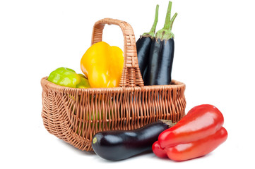 basket with pepper and eggplant