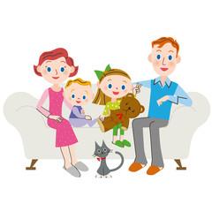 家族 リビング  外国人
