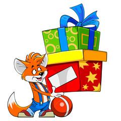 Cartoon fox holding a gift box