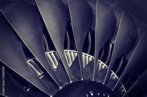 Leinwanddruck Bild jet engine passenger plane