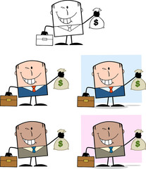 Businessman Dude Character 4. Collection Set