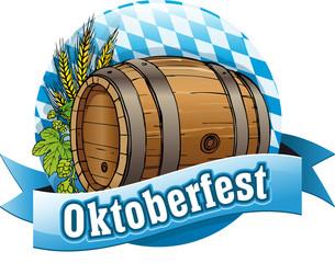 Button Oktoberfest mit Bierfass und Deko