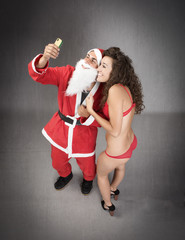 Santa Claus made selfie with fan