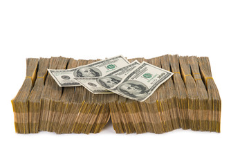 American dollar stack isolated on the white