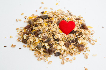 pile of muesli and a heart