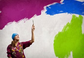 Woman with paintbrush