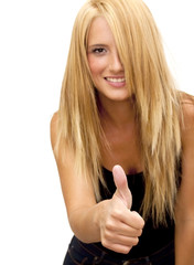 Beautiful  Blonde Woman  With The Thumb Upwards