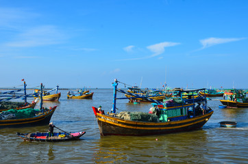 Many multicolor fishing boat at Phan Thiet city