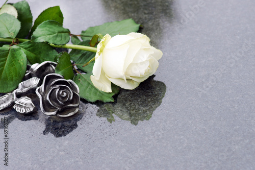 Fotobehang Begraafplaats Weisse Rose und Rose aus Bronze auf Grabplatte, copyspace