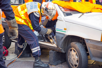 Rescue Team working after car accident