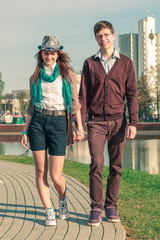 Young fashion elegant stylish Hipste couple