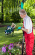Greeting gardeners in garden