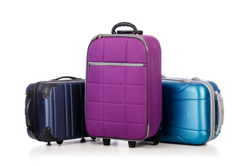 Travel concept with luggage suitacase isolated on white