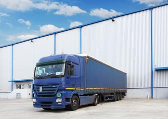 Truck, warehouse building