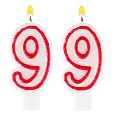 Birthday candles number ninety nine one isolated on white