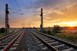 Dramatic sunset over railroad