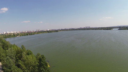 Lake in the suburbs. Aerial view panorama