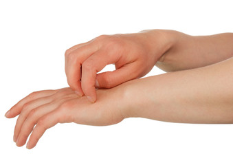 Hands scratching skin