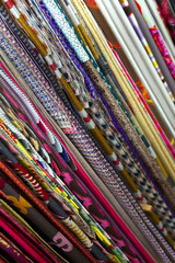 Background of fabrics in a store