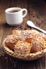 Puff cookies with nuts and coffee