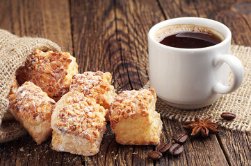 Coffee and puff cookies with nuts