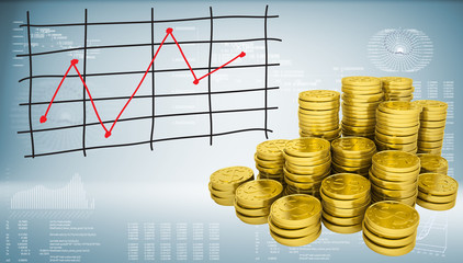 Gold coins and graph of price changes