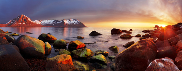 Ocean coast at sunset, panorama, Norway