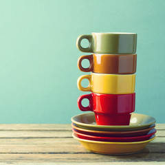 Retro coffee cups