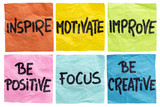 Fototapety inspire, motivate, improve notes