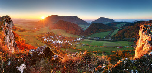 Autumn mountain  landscape - Village panorama