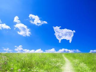 羊雲と小道