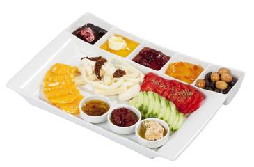 Turkish breakfast, on a white background.